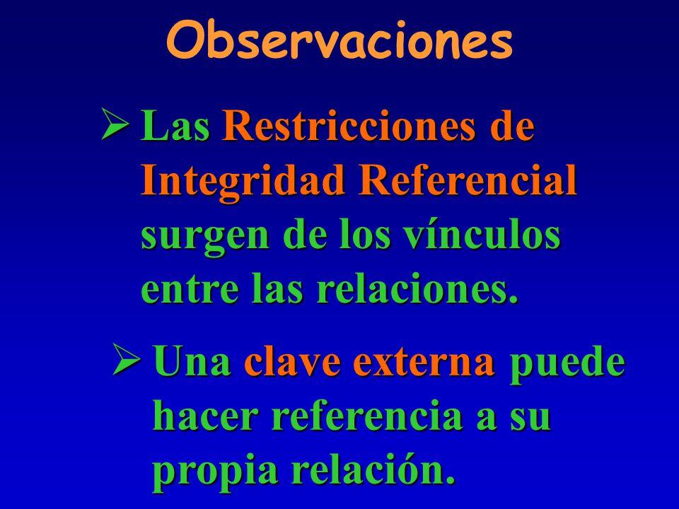 Observaciones Las Restricciones de Integridad Referencial surgen de los vínculos entre las relaciones.