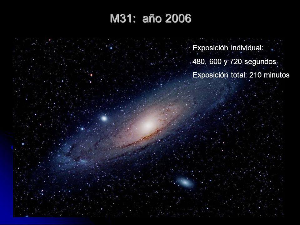 M31: año 2006 · Exposición individual: 480, 600 y 720 segundos