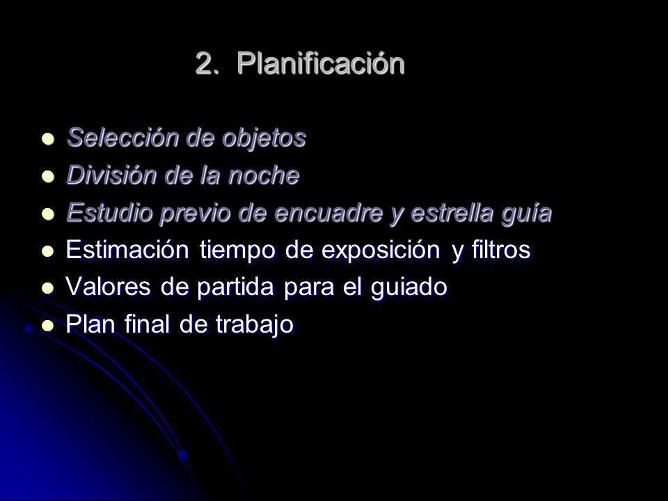 2. Planificación Selección de objetos División de la noche