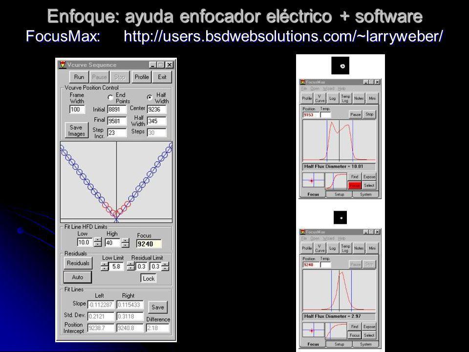 Enfoque: ayuda enfocador eléctrico + software FocusMax: http://users