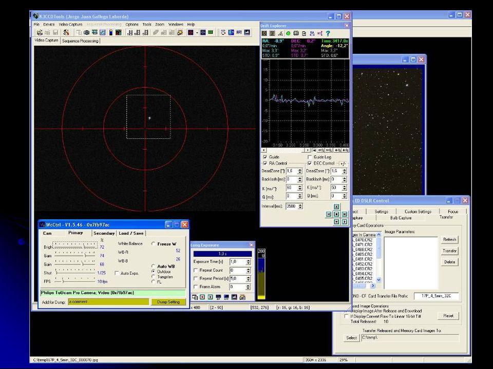 Para terminar este apartado, ésta es la disposición general del ordenador en pleno proceso de fotografía: en primer plano K3CCDTools guiando y en segundo plano Images Plus controlando la cámara y descargando las imágenes.