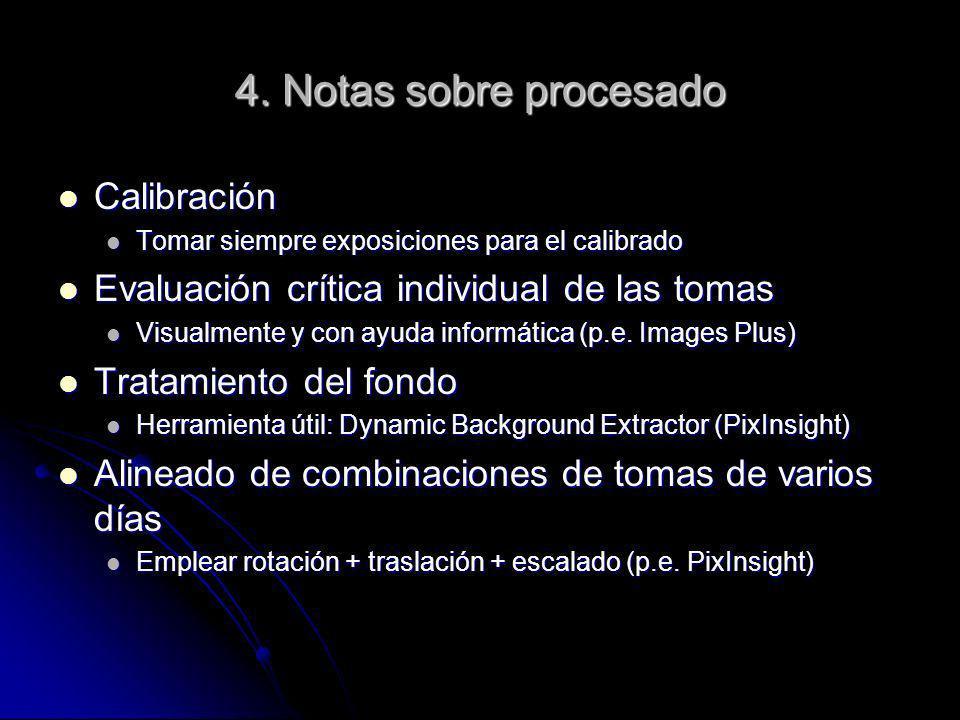4. Notas sobre procesado Calibración