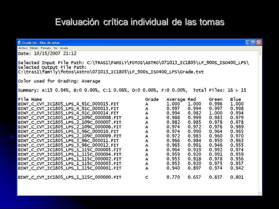 Evaluación crítica individual de las tomas