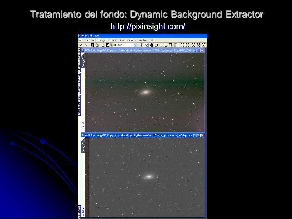 Tratamiento del fondo: Dynamic Background Extractor http://pixinsight