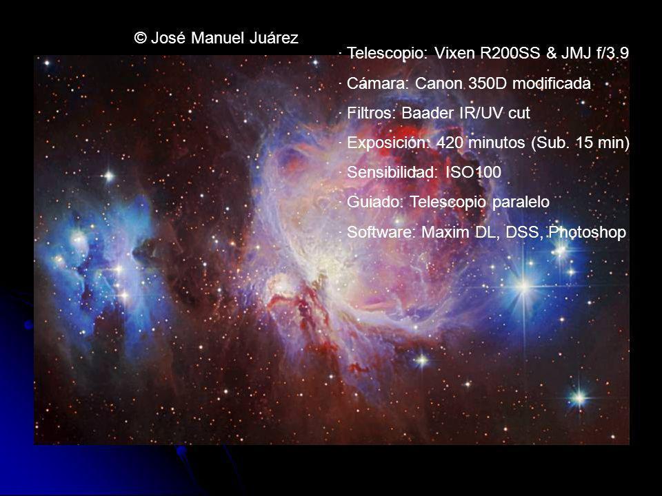 · Telescopio: Vixen R200SS & JMJ f/3.9 · Cámara: Canon 350D modificada