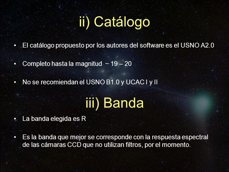 ii) Catálogo iii) Banda