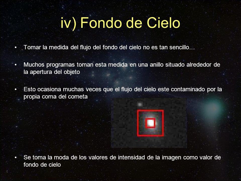iv) Fondo de Cielo Tomar la medida del flujo del fondo del cielo no es tan sencillo…