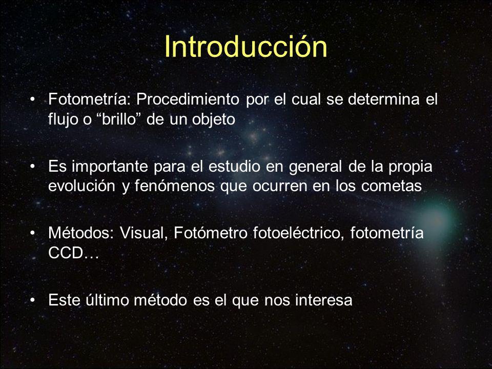 Introducción Fotometría: Procedimiento por el cual se determina el flujo o brillo de un objeto.