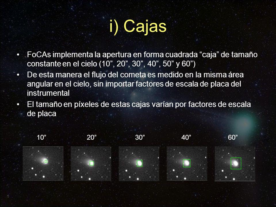 i) Cajas FoCAs implementa la apertura en forma cuadrada caja de tamaño constante en el cielo (10 , 20 , 30 , 40 , 50 y 60 )