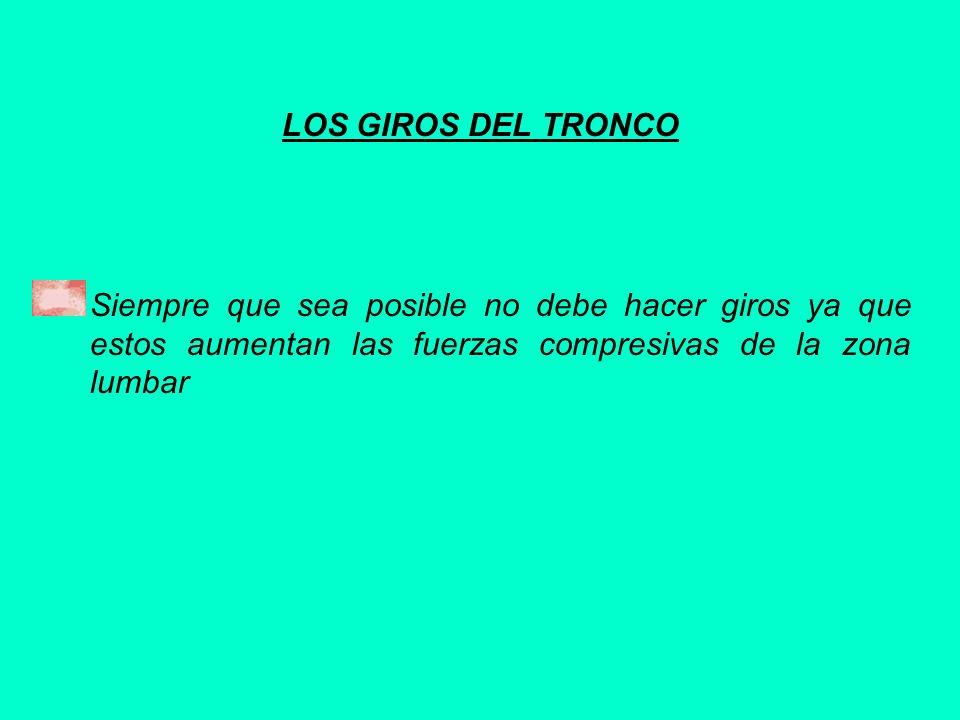 LOS GIROS DEL TRONCOSiempre que sea posible no debe hacer giros ya que estos aumentan las fuerzas compresivas de la zona lumbar.