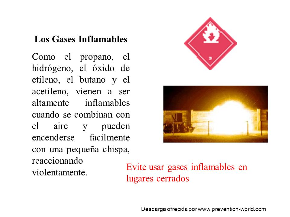 Evite usar gases inflamables en lugares cerrados