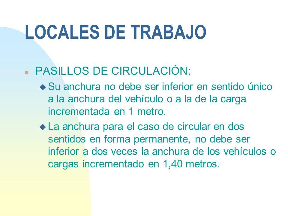 LOCALES DE TRABAJO PASILLOS DE CIRCULACIÓN: