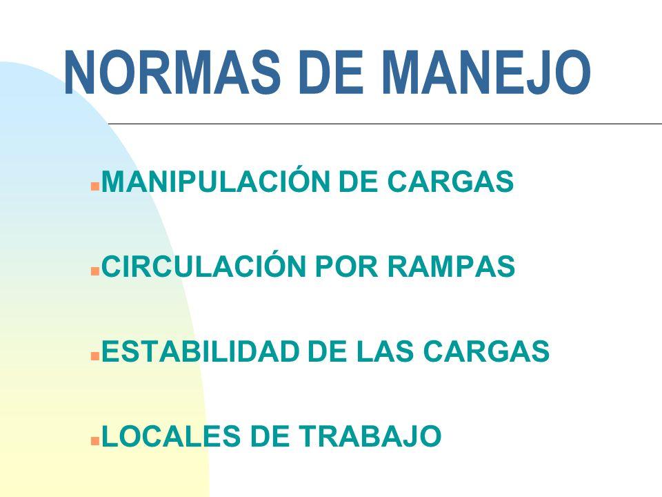 NORMAS DE MANEJO MANIPULACIÓN DE CARGAS CIRCULACIÓN POR RAMPAS
