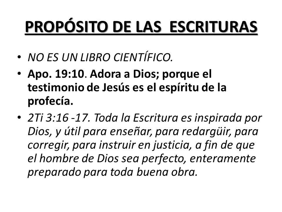 PROPÓSITO DE LAS ESCRITURAS