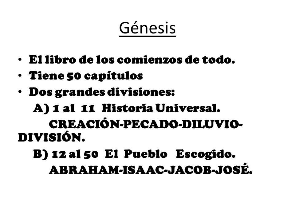 Génesis El libro de los comienzos de todo. Tiene 50 capítulos