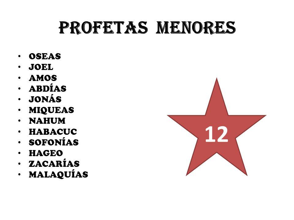 12 PROFETAS MENORES OSEAS JOEL AMOS ABDÍAS JONÁS MIQUEAS NAHUM HABACUC