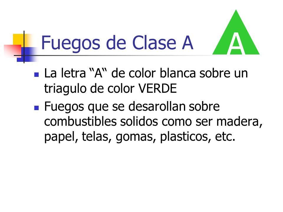 A Fuegos de Clase A. La letra A de color blanca sobre un triagulo de color VERDE.