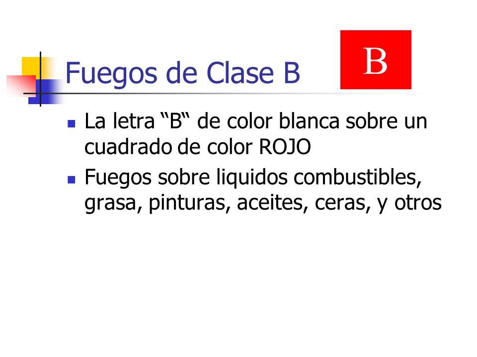 Fuegos de Clase B B. La letra B de color blanca sobre un cuadrado de color ROJO.