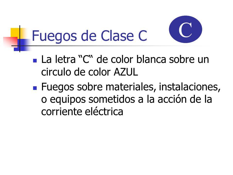 Fuegos de Clase C C. La letra C de color blanca sobre un circulo de color AZUL.