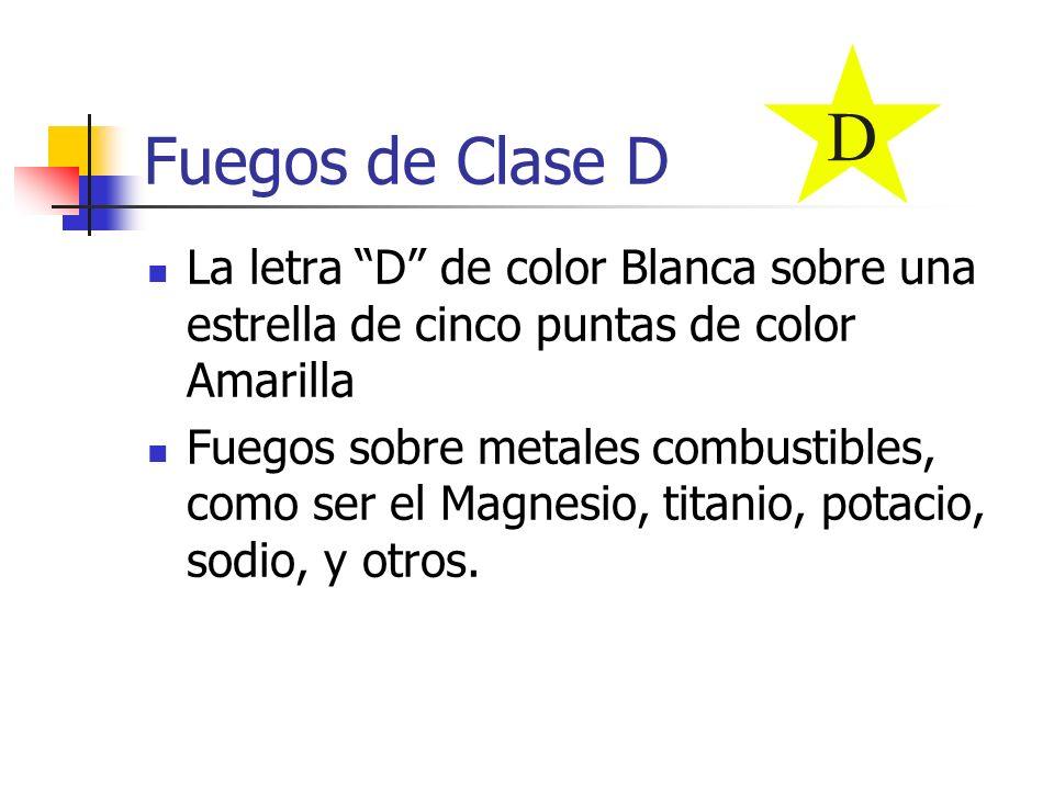D Fuegos de Clase D. La letra D de color Blanca sobre una estrella de cinco puntas de color Amarilla.