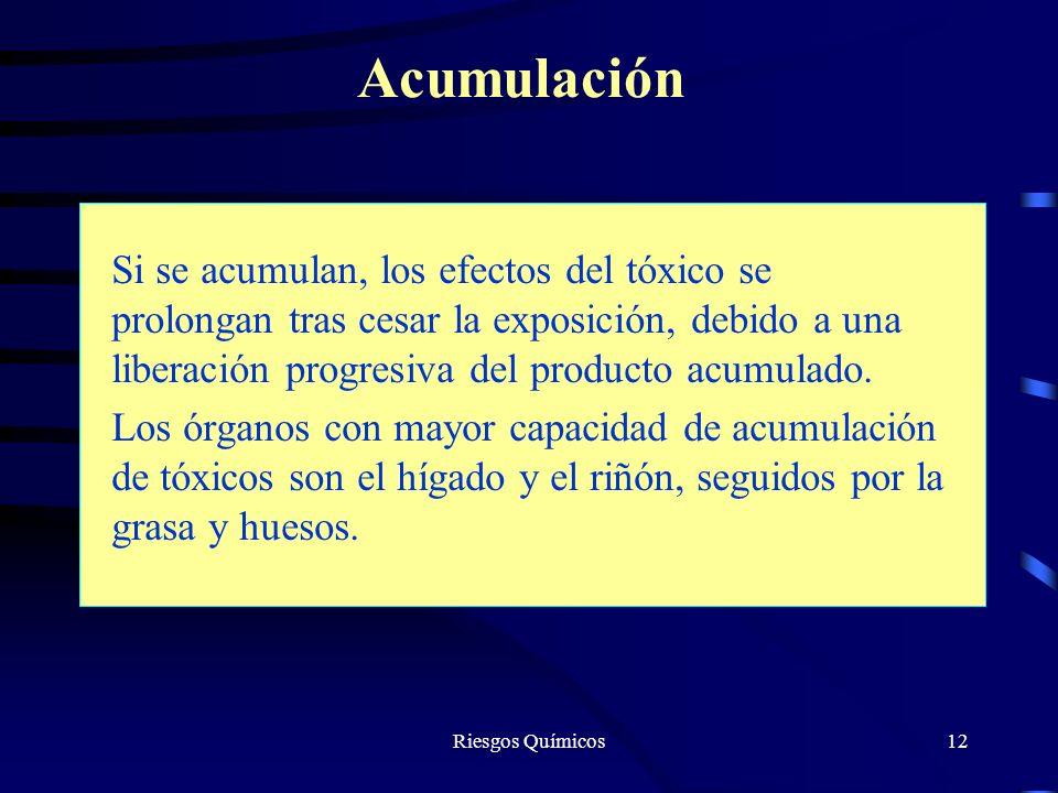 Acumulación Si se acumulan, los efectos del tóxico se prolongan tras cesar la exposición, debido a una liberación progresiva del producto acumulado.