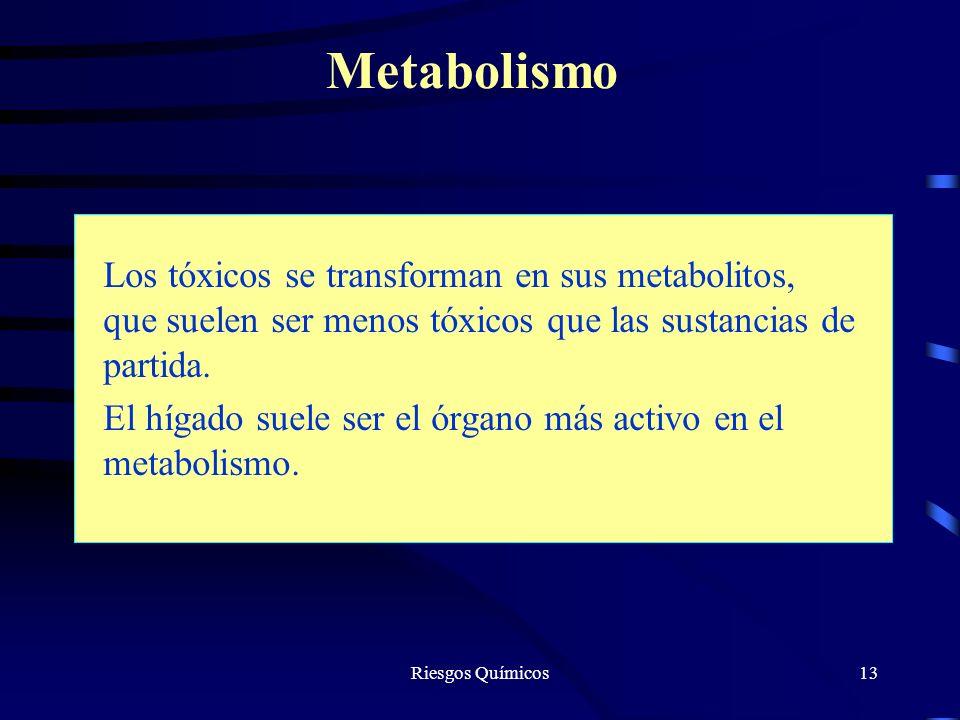 Metabolismo Los tóxicos se transforman en sus metabolitos, que suelen ser menos tóxicos que las sustancias de partida.