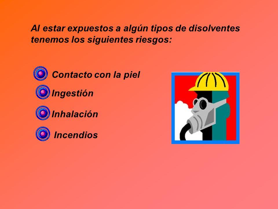 Al estar expuestos a algún tipos de disolventes tenemos los siguientes riesgos: