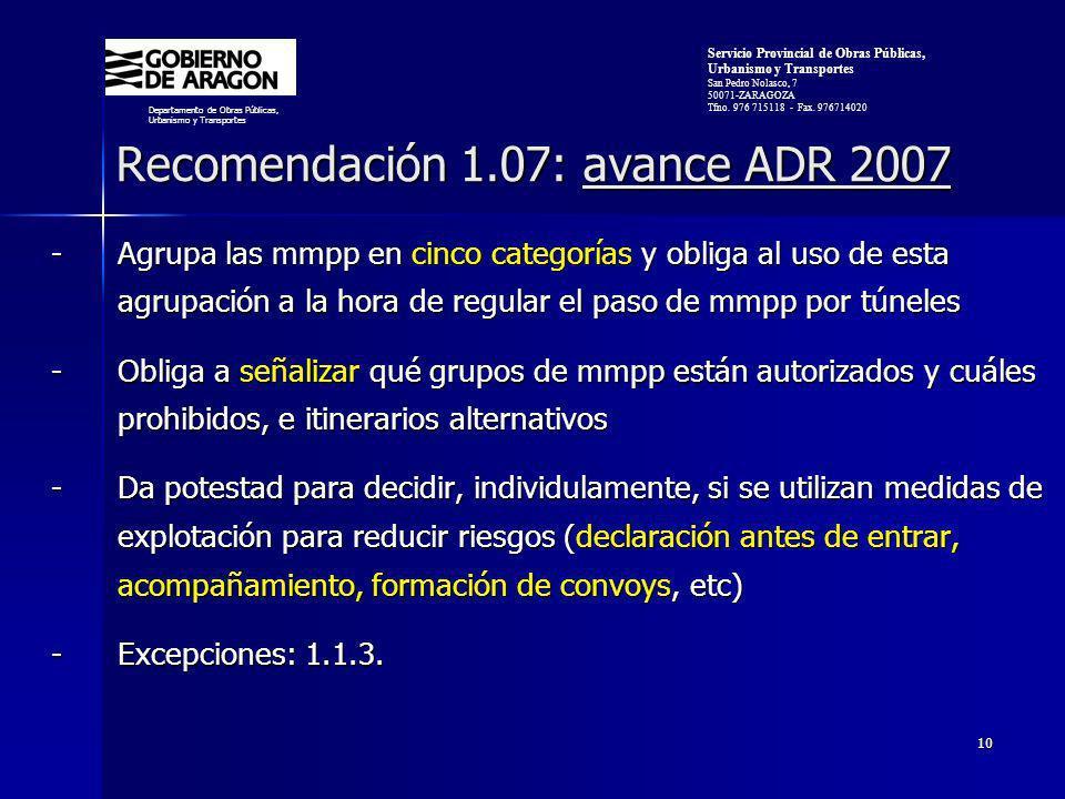 Recomendación 1.07: avance ADR 2007
