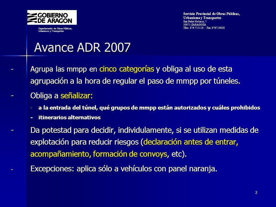 Avance ADR 2007 - Obliga a señalizar: