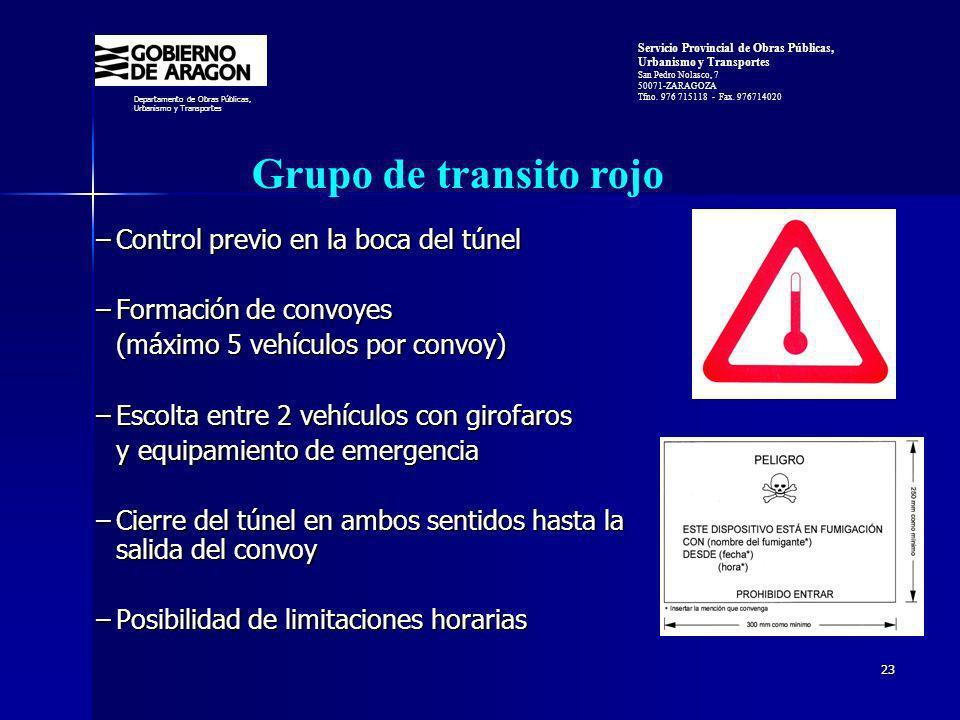 Grupo de transito rojo Control previo en la boca del túnel