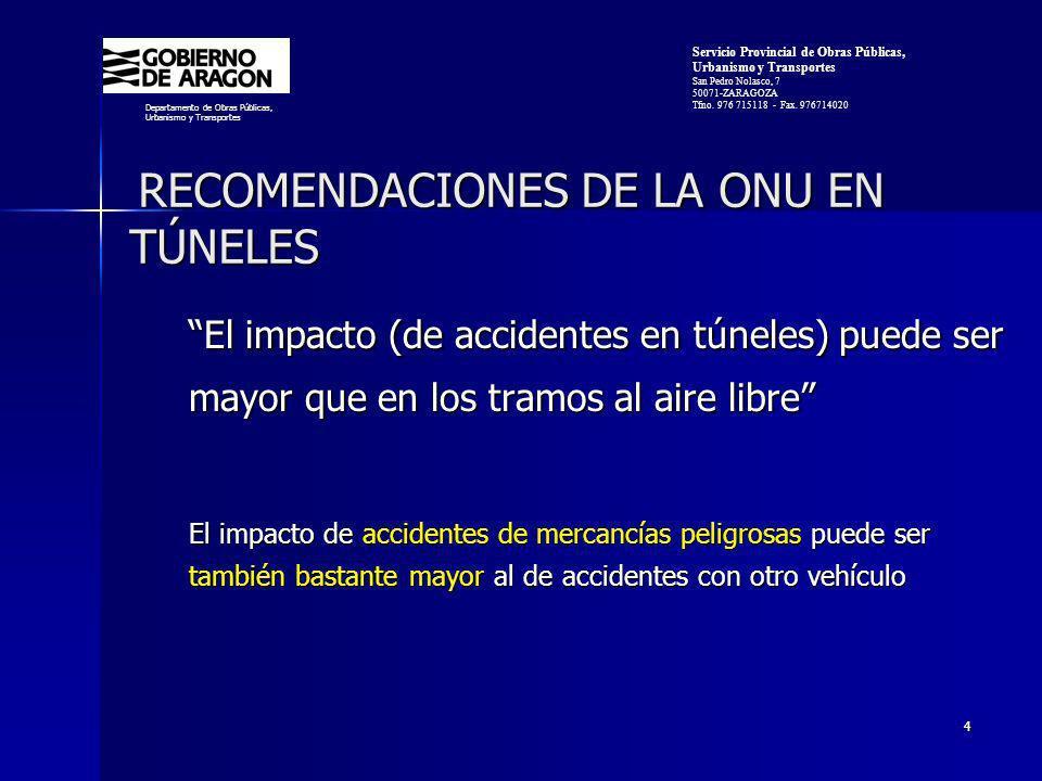 RECOMENDACIONES DE LA ONU EN TÚNELES