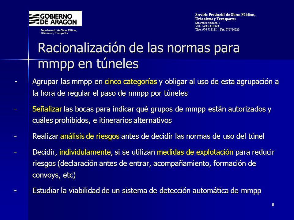 Racionalización de las normas para mmpp en túneles