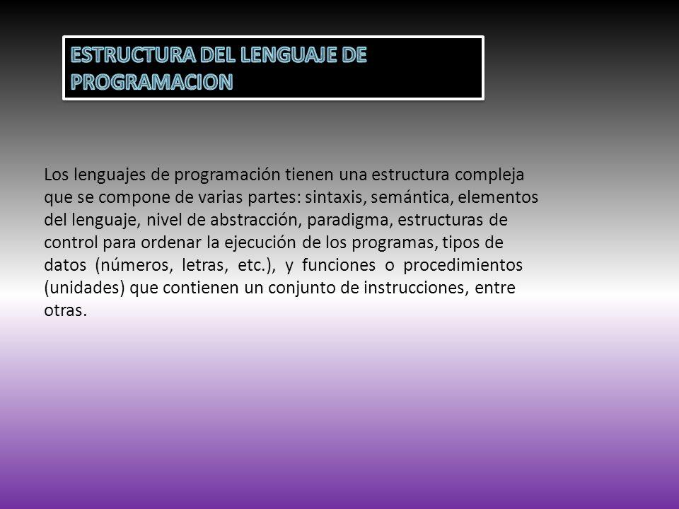ESTRUCTURA DEL LENGUAJE DE PROGRAMACION