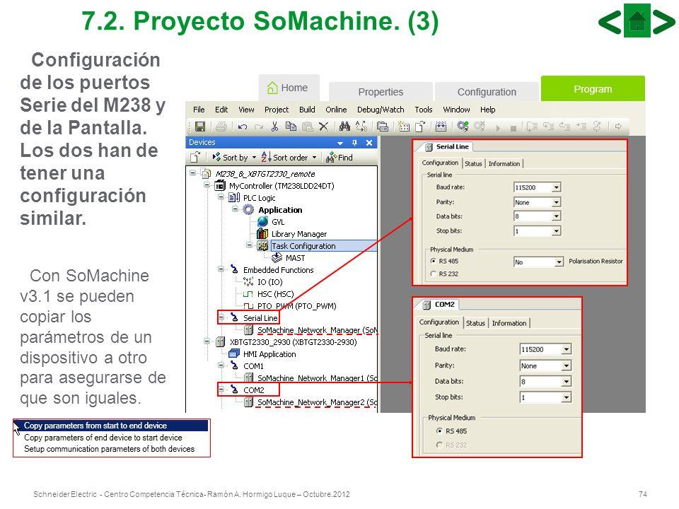 7.2. Proyecto SoMachine. (3)Configuración de los puertos Serie del M238 y de la Pantalla. Los dos han de tener una configuración similar.