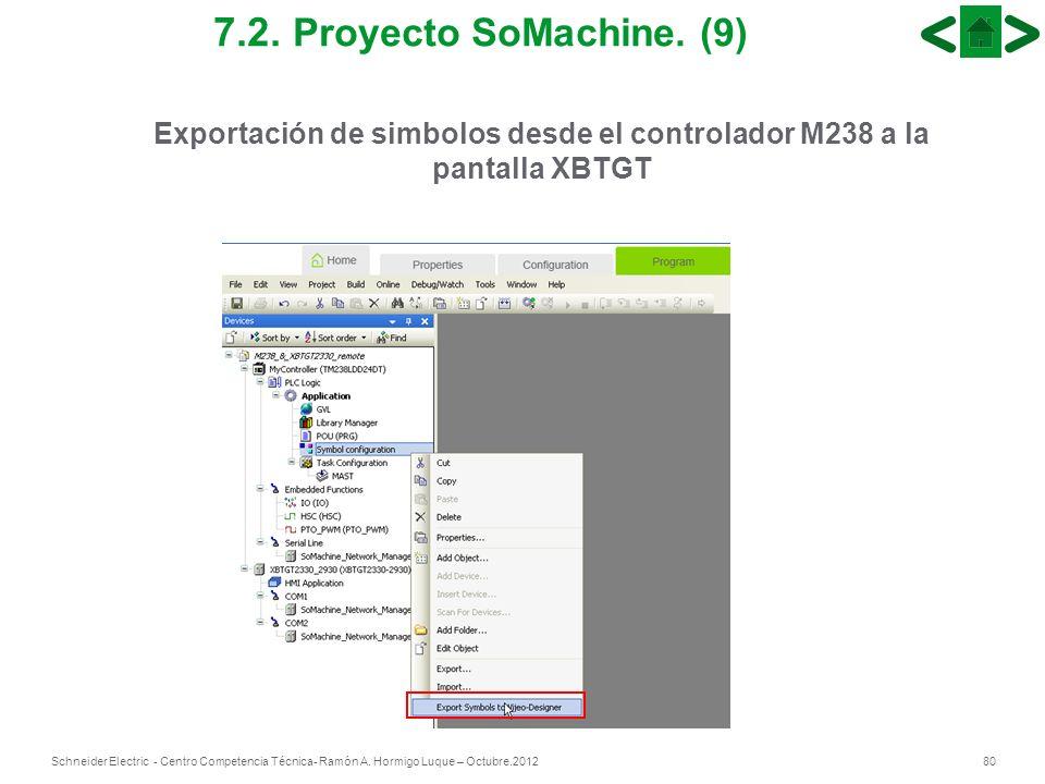 Exportación de simbolos desde el controlador M238 a la pantalla XBTGT