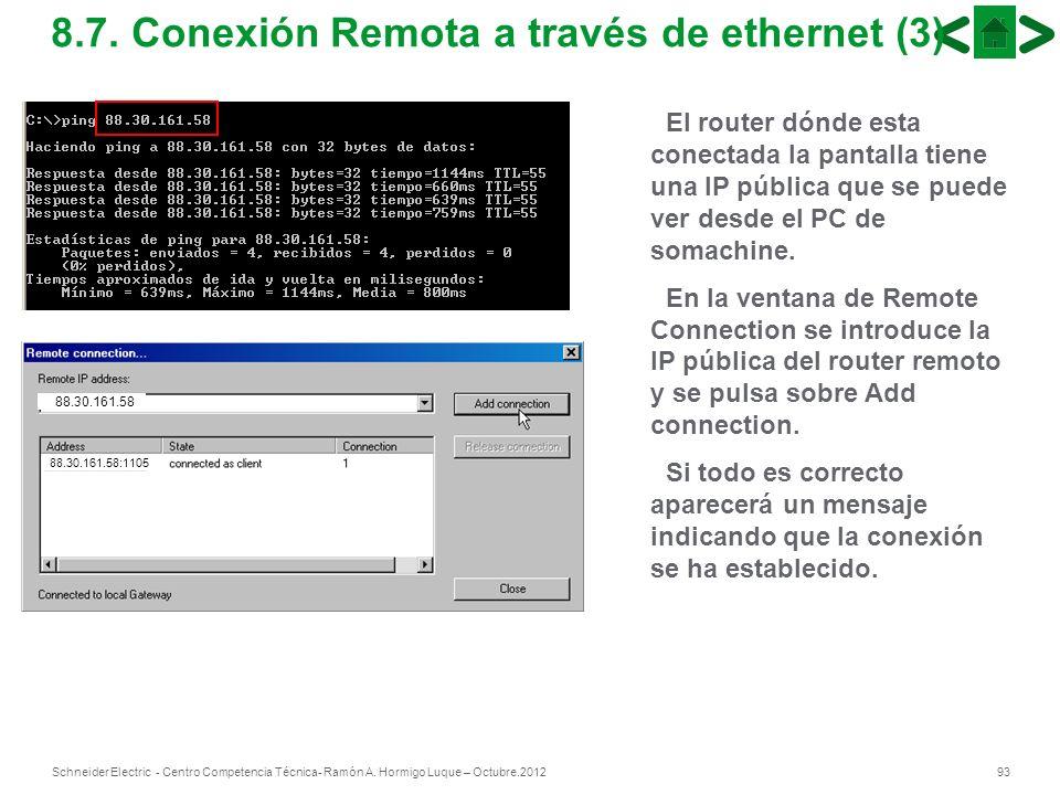 8.7. Conexión Remota a través de ethernet (3)