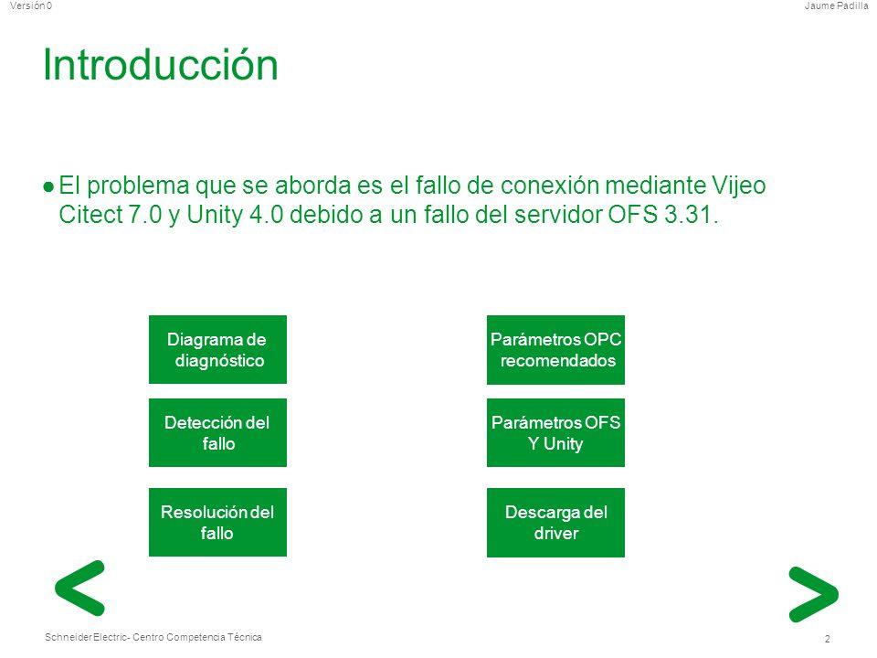 IntroducciónEl problema que se aborda es el fallo de conexión mediante Vijeo Citect 7.0 y Unity 4.0 debido a un fallo del servidor OFS 3.31.