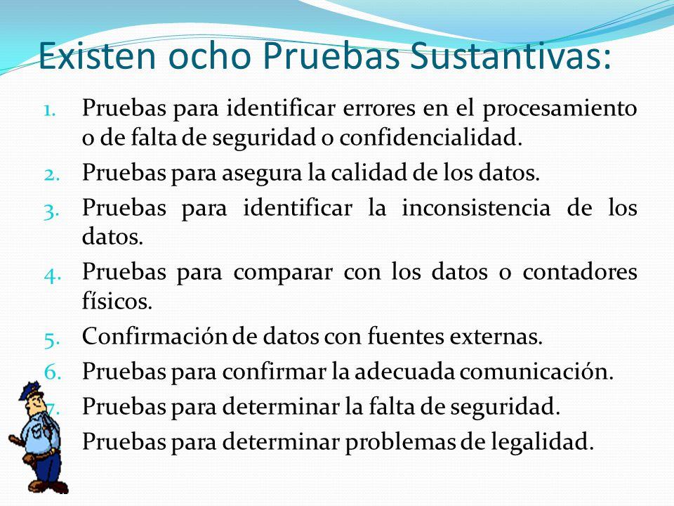 Existen ocho Pruebas Sustantivas: