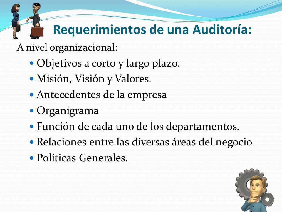 Requerimientos de una Auditoría: