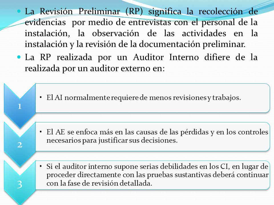 La Revisión Preliminar (RP) significa la recolección de evidencias por medio de entrevistas con el personal de la instalación, la observación de las actividades en la instalación y la revisión de la documentación preliminar.