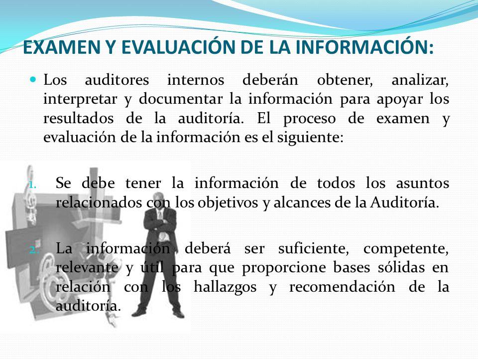 EXAMEN Y EVALUACIÓN DE LA INFORMACIÓN: