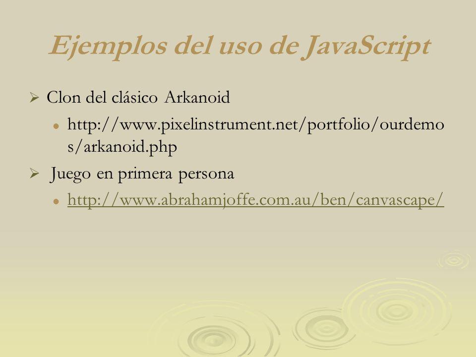 Ejemplos del uso de JavaScript