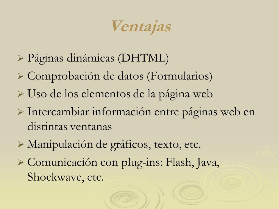 Ventajas Páginas dinámicas (DHTML) Comprobación de datos (Formularios)