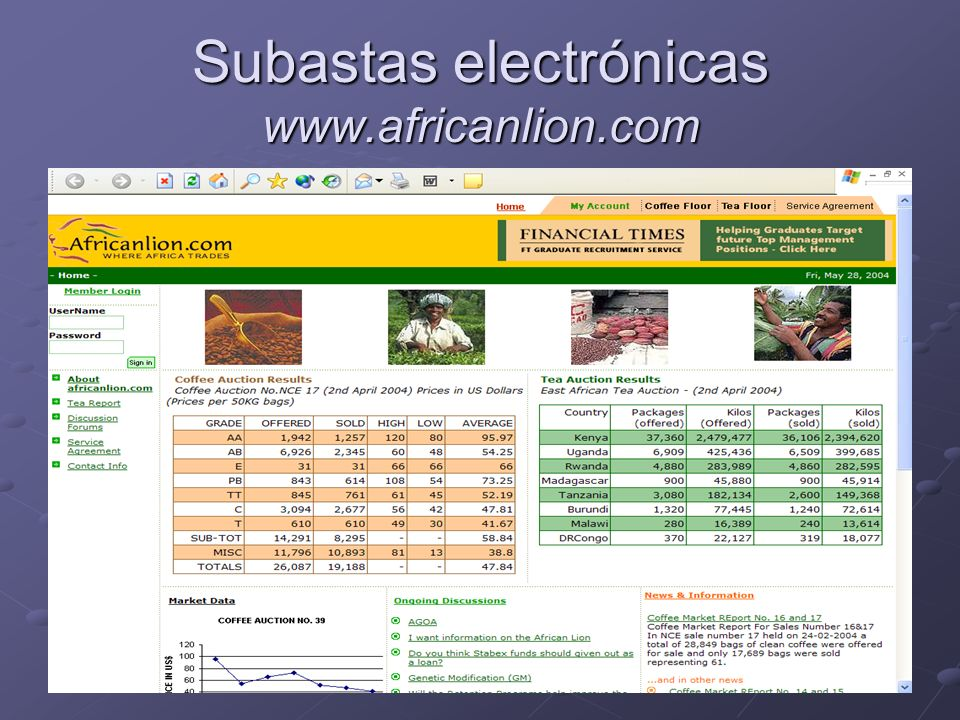 Subastas electrónicas www.africanlion.com