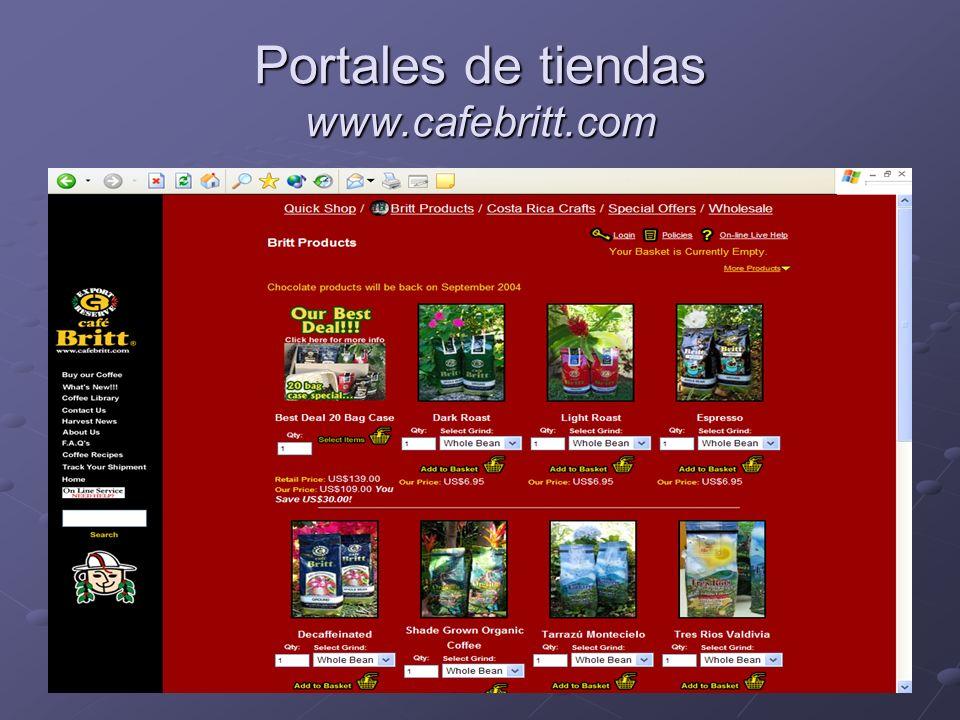 Portales de tiendas www.cafebritt.com