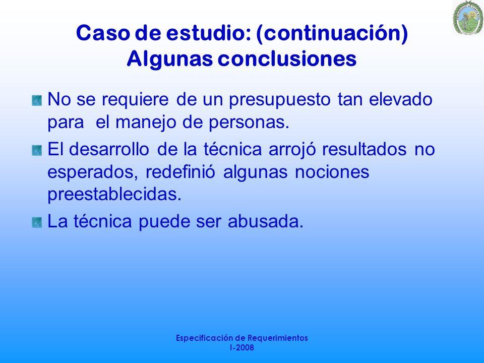 Caso de estudio: (continuación) Algunas conclusiones