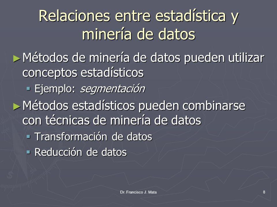 Relaciones entre estadística y minería de datos