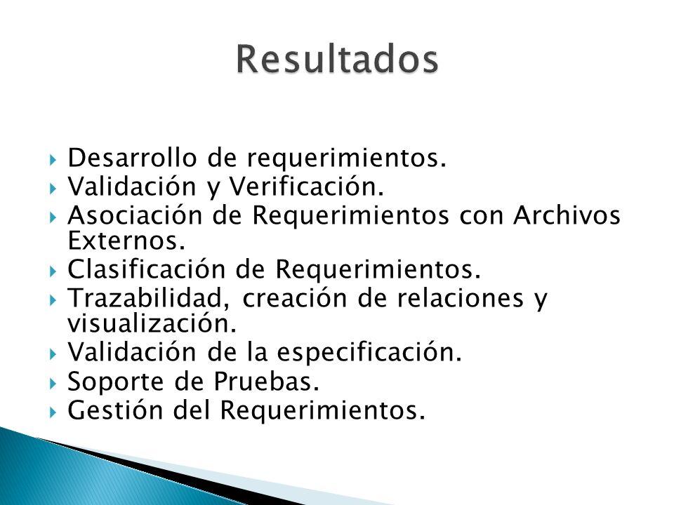 Resultados Desarrollo de requerimientos. Validación y Verificación.