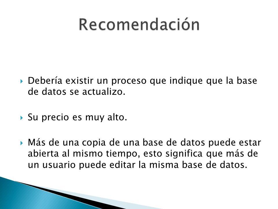 RecomendaciónDebería existir un proceso que indique que la base de datos se actualizo. Su precio es muy alto.
