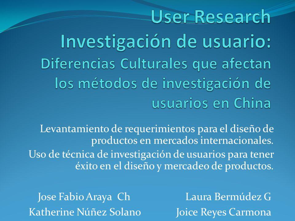 User Research Investigación de usuario: Diferencias Culturales que afectan los métodos de investigación de usuarios en China